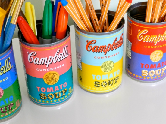 Andy Warhol Soup Can Pencil Cups by Rachel Schultz
